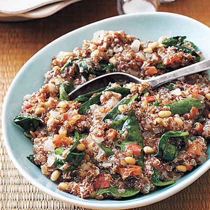 Red Quinoa Pilaf with Tomato, Spinach and Pine Nuts