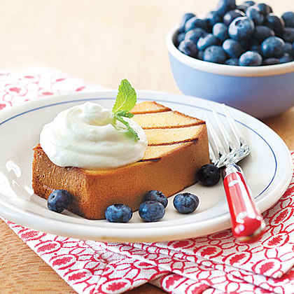 Grilled Pound Cake with Blueberries