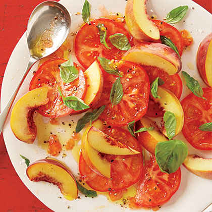 Peach, Tomato and Basil Salad