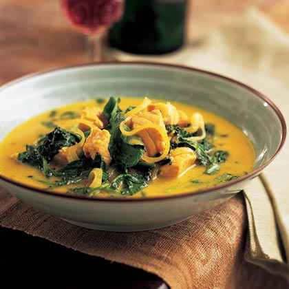 Thai Coconut-Curried Salmon with Greens