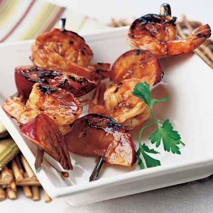 China: Grilled Shrimp-and-Plum Skewers with Sweet Hoisin Sauce