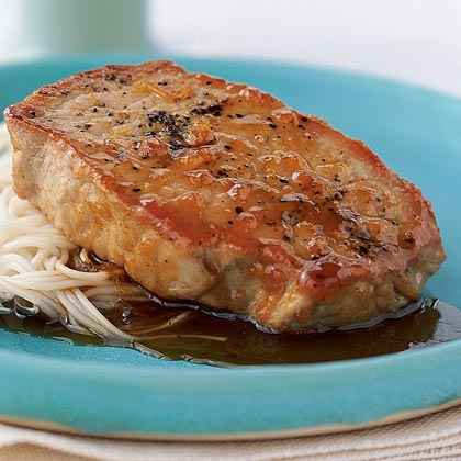 Apricot-Hoisin Pork Chops with Somen