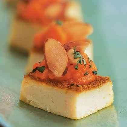Curried Chickpea Canapés with Ginger-Carrot Butter