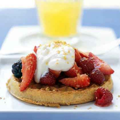Honey Yogurt and Mixed Berries with Whole-Grain Waffles