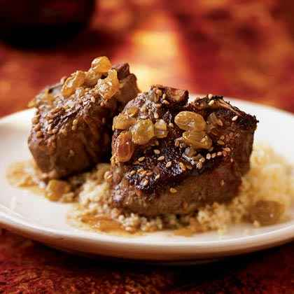 Sesame Lamb Chops with Honey-Raisin Sauce