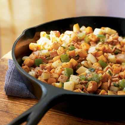 Sweet Potato and Canadian Bacon Hash
