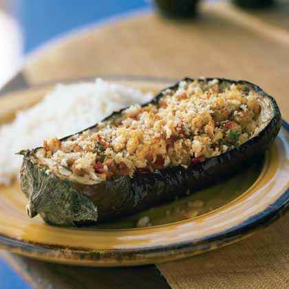 Baked Eggplant with Savory Cheese Stuffing