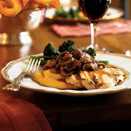 Chicken with Asiago Polenta and Mushrooms
