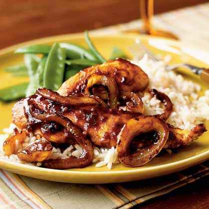 Sriracha-Glazed Chicken and Onions over Rice