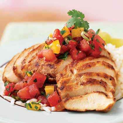 Sesame-Chile Chicken with Watermelon Salsa