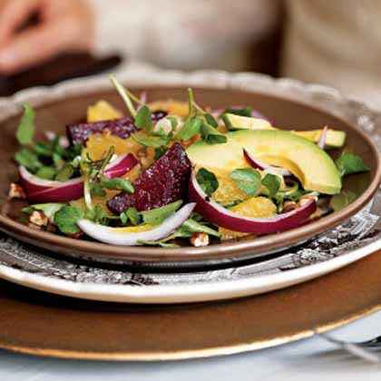 Roasted Beet, Avocado, and Watercress Salad