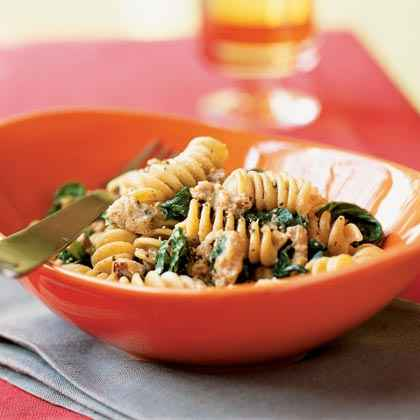 Whole Wheat Blend Rotini with Spicy Turkey Sausage and Mustard Greens