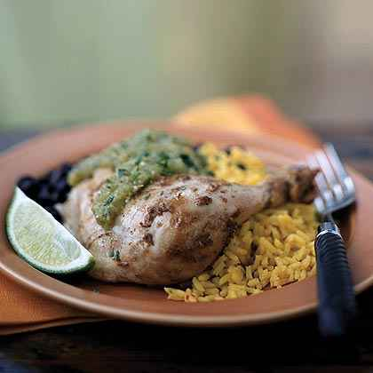 Chipotle Grilled Chicken Thighs With Spicy Tomatillo Sauce Recipes ...