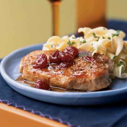 Pork Chops with Ginger-Cherry Sauce