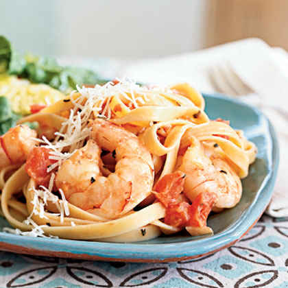 Frozen Shrimp: Spicy Shrimp and Fettuccine