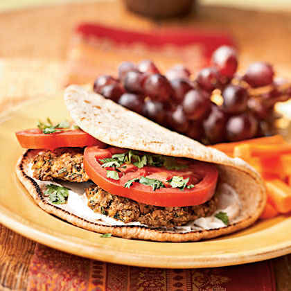 Baked Falafel Sandwiches with Yogurt-Tahini Sauce