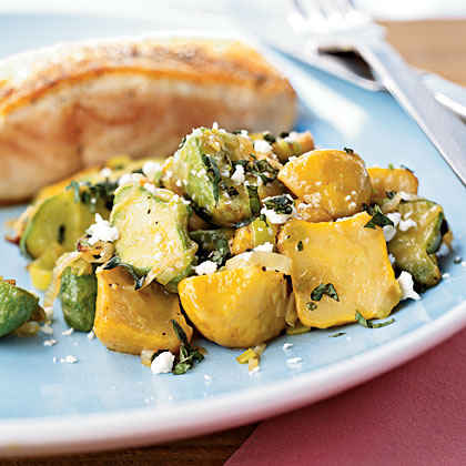 Sautéed Baby Squash with Basil and Feta