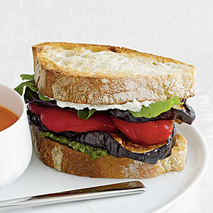 Eggplant and Goat Cheese Sandwich