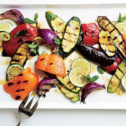 farinata sliced with grilled grilled vegetables with mint farinata ...