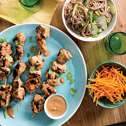 Chicken Kebabs with Cucumber Noodles