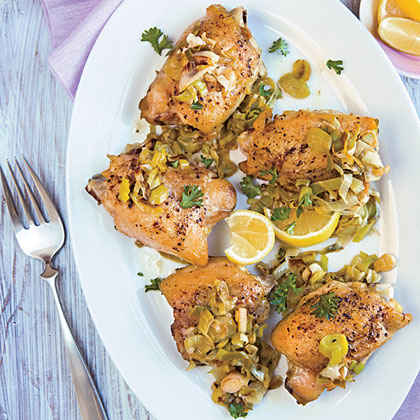 Braised Chicken with Honey-Lemon Leeks