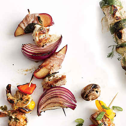 Chicken, Red Onion, and Prosciutto-Wrapped Plum Kebabs