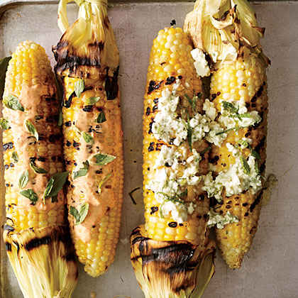 Corn on the Cob with Feta and Mint Butter