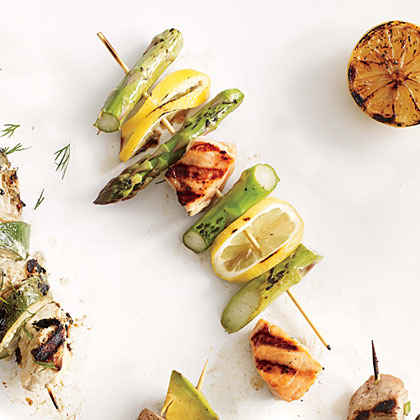 Salmon, Asparagus, and Fresh Lemon Kebabs