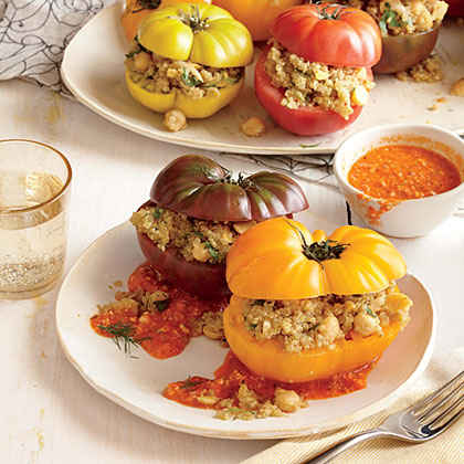 Quinoa-Stuffed Heirloom Tomatoes with Romesco