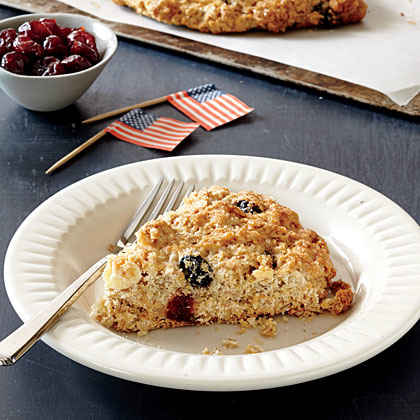 Red, White, and Blue Toasted Oat Scones