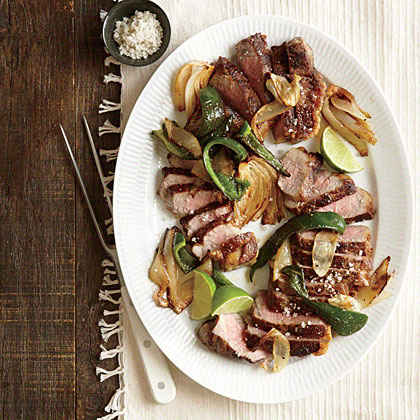 Strip Steak with Onions and Poblanos