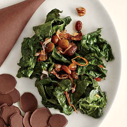 Wilted Kale with Golden Raisins and Pecans