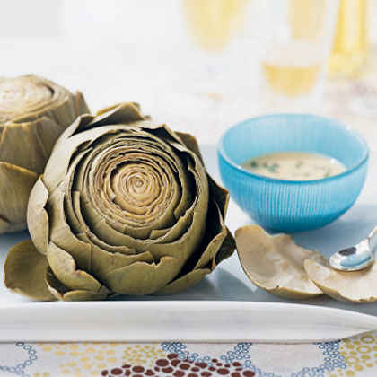 Artichokes with Roasted Garlic Dip