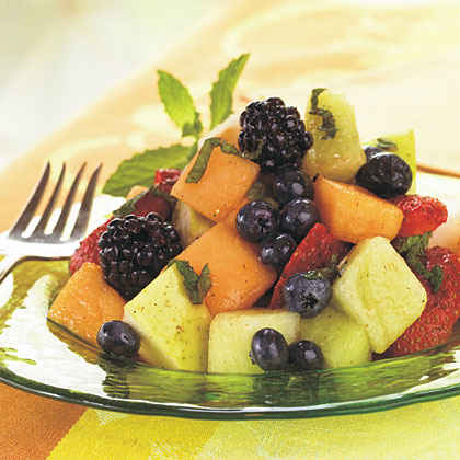 Melon, Berry, and Pear Salad with Cayenne-Lemon-Mint Syrup
