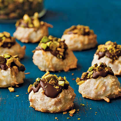Coconut Macaroons with Bittersweet Chocolate and Pistachios