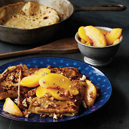Sweet Potato Crepes with Caramelized Peaches and Pecans