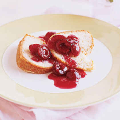 Lemon Pound Cake with Cherry Compote
