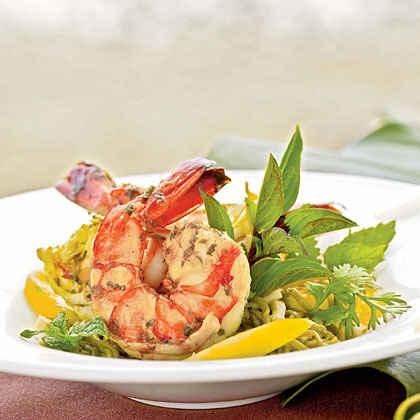 Vietnam: Vietnamese-style Prawns and Hearts of Palm with Green Tea-Noodle Salad