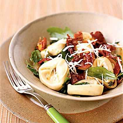 Passion: Mushroom Tortellini with Arugula and Crispy Prosciutto