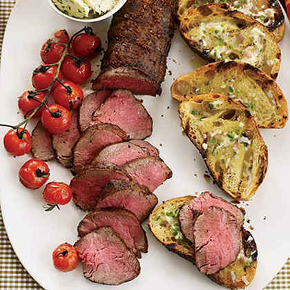 Grilled Beef Tenderloin with Ancho-Jalapeńo Butter