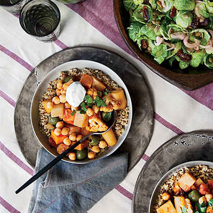 Root Vegetable and Cauliflower Tagine with Parsley Yogurt