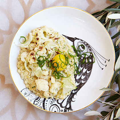 Toasted Farro and Scallions with Cauliflower and Egg