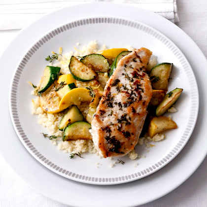 Sautéed Zucchini with Lemon-Thyme Chicken