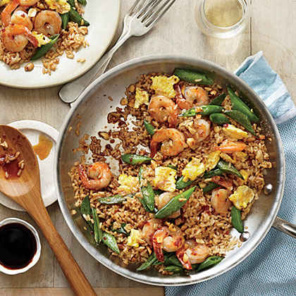 Quick Fried Brown Rice with Shrimp and Snap Peas
