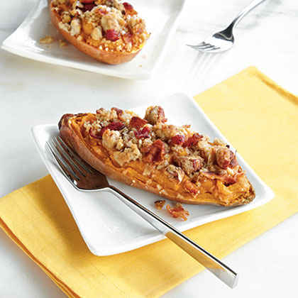 Twice-Baked Sweet Potato Boats with Bacon-Pecan Topping
