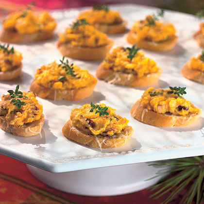 Butternut Squash Spread on Cheese Croutons