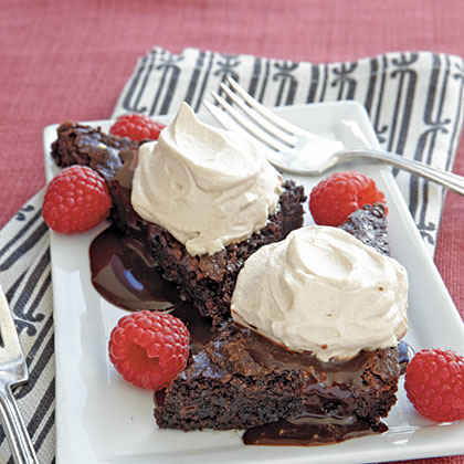 Mocha Cream Brownie Wedges with Fresh Raspberries
