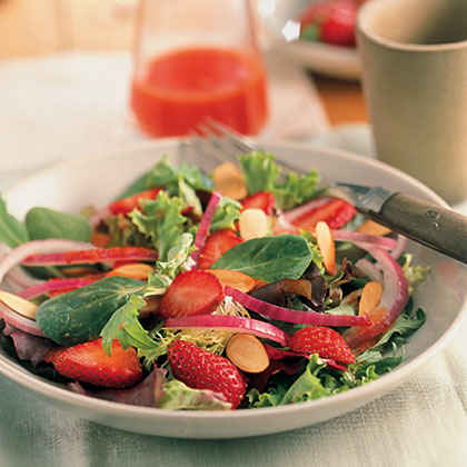Spring Greens With Strawberries And Honey-Watermelon Dressing