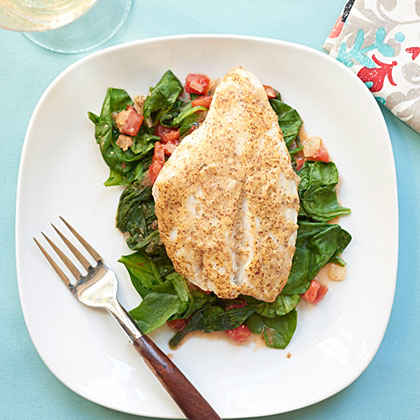 Red Snapper over Sautéed Spinach and Tomatoes