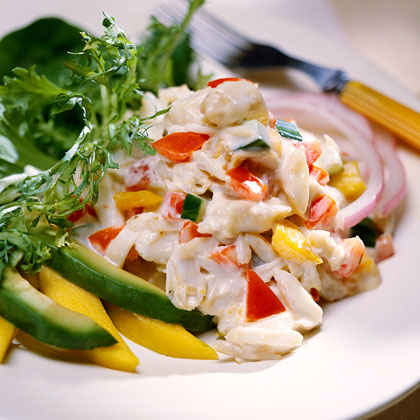 Caribbean Crabmeat Salad With Creamy Gingered Dressing